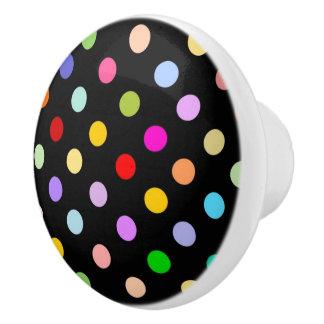 Rainbow Polka dot pattern on black Ceramic Knob