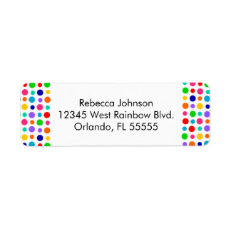 Rainbow Polka Dots Address Label