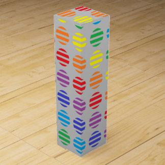 Rainbow Polka Dots and Stripes Silver Wine Gift Box