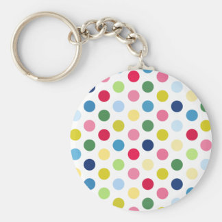 Rainbow polka dots basic round button key ring