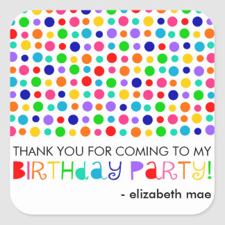 Rainbow Polka Dots Birthday Party Favor Stickers
