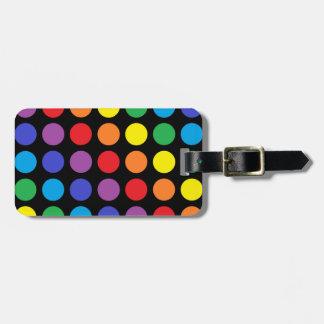 Rainbow Polka Dots Black Bag Tag