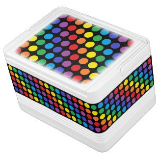 Rainbow Polka Dots Black Igloo Cool Box