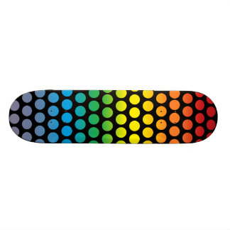 Rainbow Polka Dots Black Skate Decks
