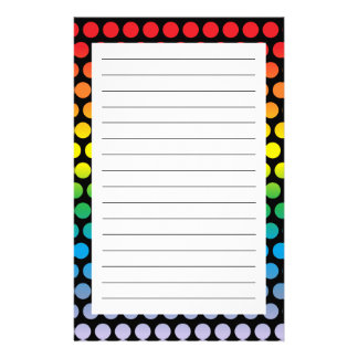 Rainbow Polka Dots Black Customised Stationery