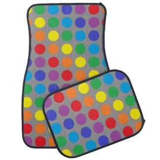 Rainbow Polka Dots Charcoal Car Mat