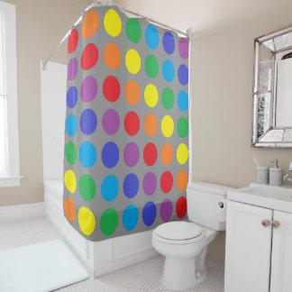 Rainbow Polka Dots Charcoal Shower Curtain