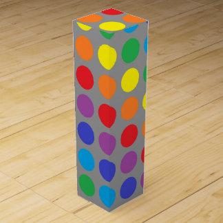 Rainbow Polka Dots Charcoal Wine Box