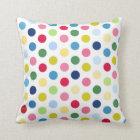 Rainbow polka dots cushion