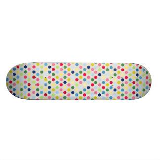 Rainbow polka dots custom skateboard