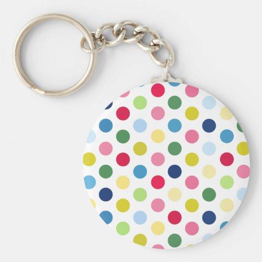 Rainbow polka dots keychains