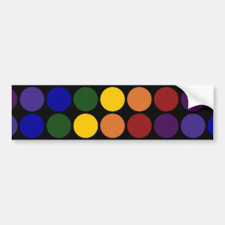 Rainbow Polka Dots on Black Bumper Sticker