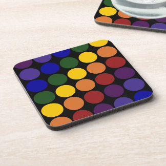 Rainbow Polka Dots on Black Coaster