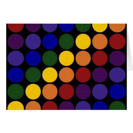 Rainbow Polka Dots on Black Greeting Card