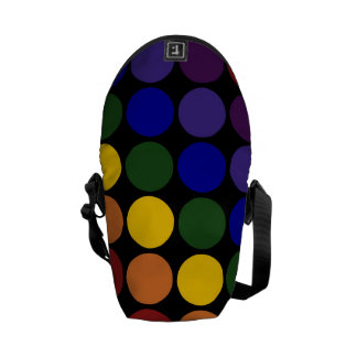 Rainbow Polka Dots on Black Courier Bag
