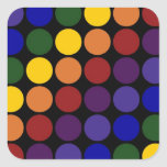 Rainbow Polka Dots on Black Square Stickers