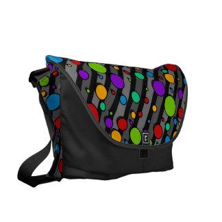 Rainbow Polka Dots on Stripes Courier Bag