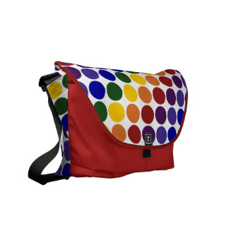 Rainbow Polka Dots on White Courier Bag