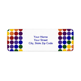 Rainbow Polka Dots on White return address label