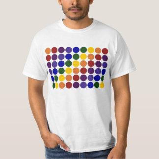 Rainbow Polka Dots on White Shirt