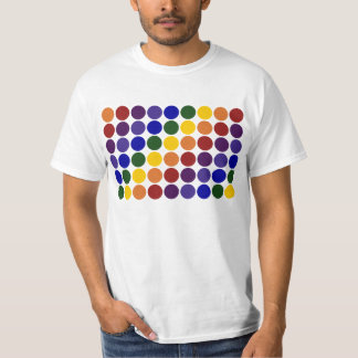 Rainbow Polka Dots on White T-Shirt
