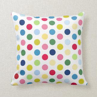 Rainbow polka dots pillow