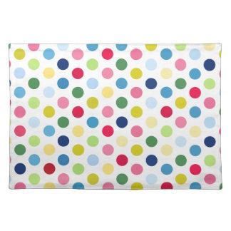 Rainbow polka dots placemats
