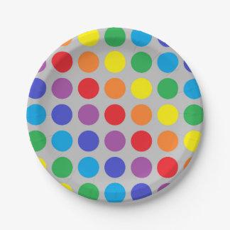 Rainbow Polka Dots Silver Paper Plate