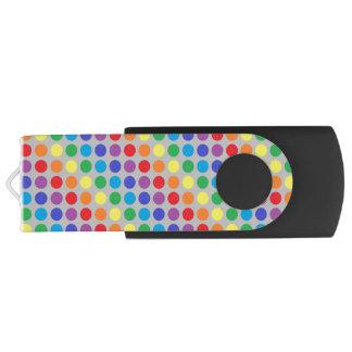 Rainbow Polka Dots Silver USB Flash Drive