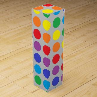 Rainbow Polka Dots Silver Wine Bottle Box