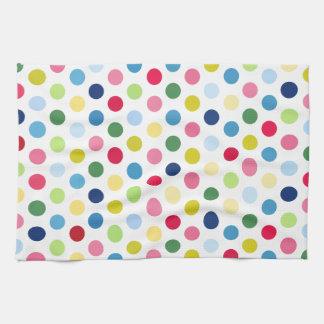 Rainbow polka dots tea towel