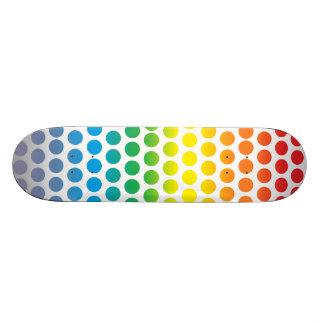 Rainbow Polka Dots White Skateboards