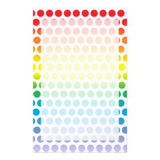 Rainbow Polka Dots White Customized Stationery