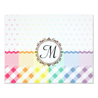Rainbow Polkadots Checks and Stripes with Monogram 11 Cm X 14 Cm Invitation Card