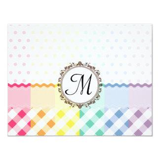 "Rainbow Polkadots Checks and Stripes with Monogram 4.25"" X 5.5"" Invitation Card"