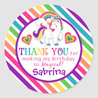 Rainbow Pony Unicorn Birthday Thank You Stickers