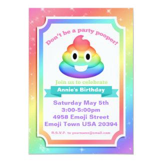 Rainbow Poop Emoji Birthday Invitation