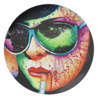 Rainbow Pop Art Splatter Portrait: At a Glance Plate