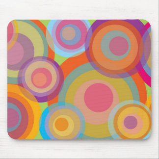 Rainbow Pop Circles Colorful Retro Fun Groovy Chic Mouse Mat