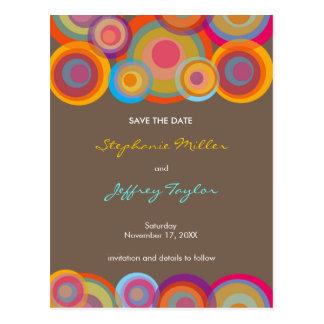 Rainbow Pop Circles Save The Date Wedding Postcard