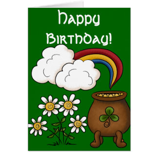 Rainbow Pot o' Gold Happy March Birthday Card