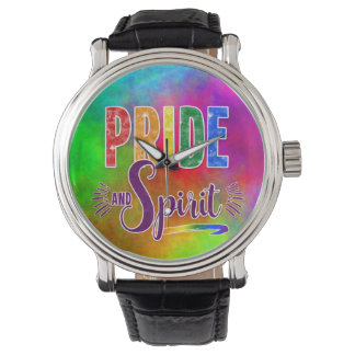 Rainbow Pride and Spirit with Watercolors Wrist Watches
