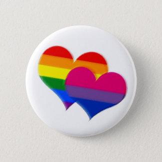 Rainbow pride bi pride hearts 6 cm round badge