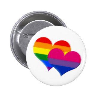 Rainbow pride bi pride hearts pinback buttons