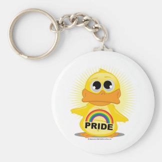 Rainbow Pride Duck Basic Round Button Key Ring