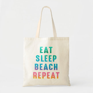 Rainbow Pride Eat Sleep Beach Repeat Tote Bag