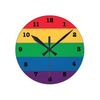 Rainbow Pride Flag Numbered Wall Clock