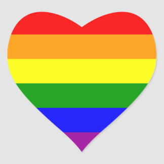 Rainbow Pride Gay & Lesbian Power Heart Love Heart Sticker