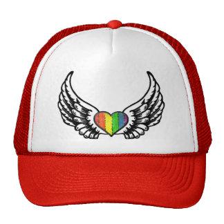 Rainbow Pride GLBT Heart with Wings Mesh Hats