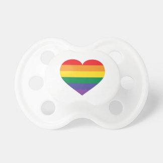 Rainbow pride heart pacifiers